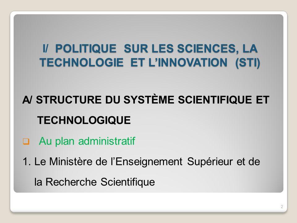 POLITIQUE SUR LES SCIENCES, LA TECHNOLOGIE ET LINNOVATION (STI) I/ POLITIQUE SUR LES SCIENCES, LA TECHNOLOGIE ET LINNOVATION (STI) A/ STRUCTURE DU SYS