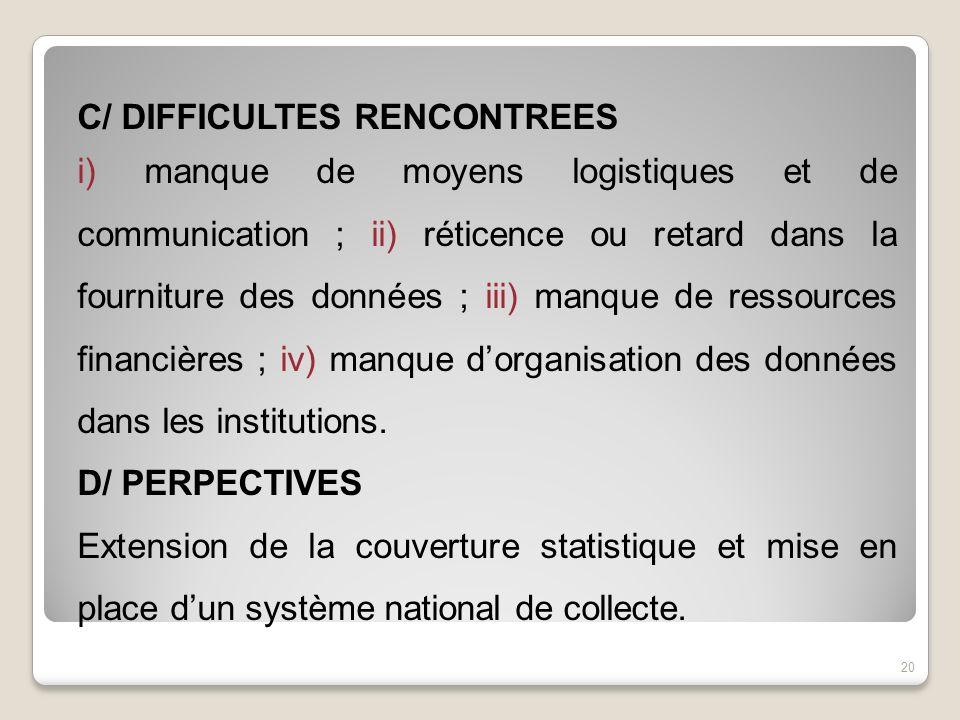 C/ DIFFICULTES RENCONTREES i) manque de moyens logistiques et de communication ; ii) réticence ou retard dans la fourniture des données ; iii) manque