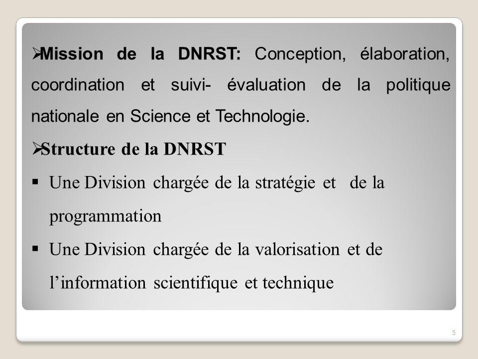 Mission de la DNRST: Conception, élaboration, coordination et suivi- évaluation de la politique nationale en Science et Technologie. Structure de la D