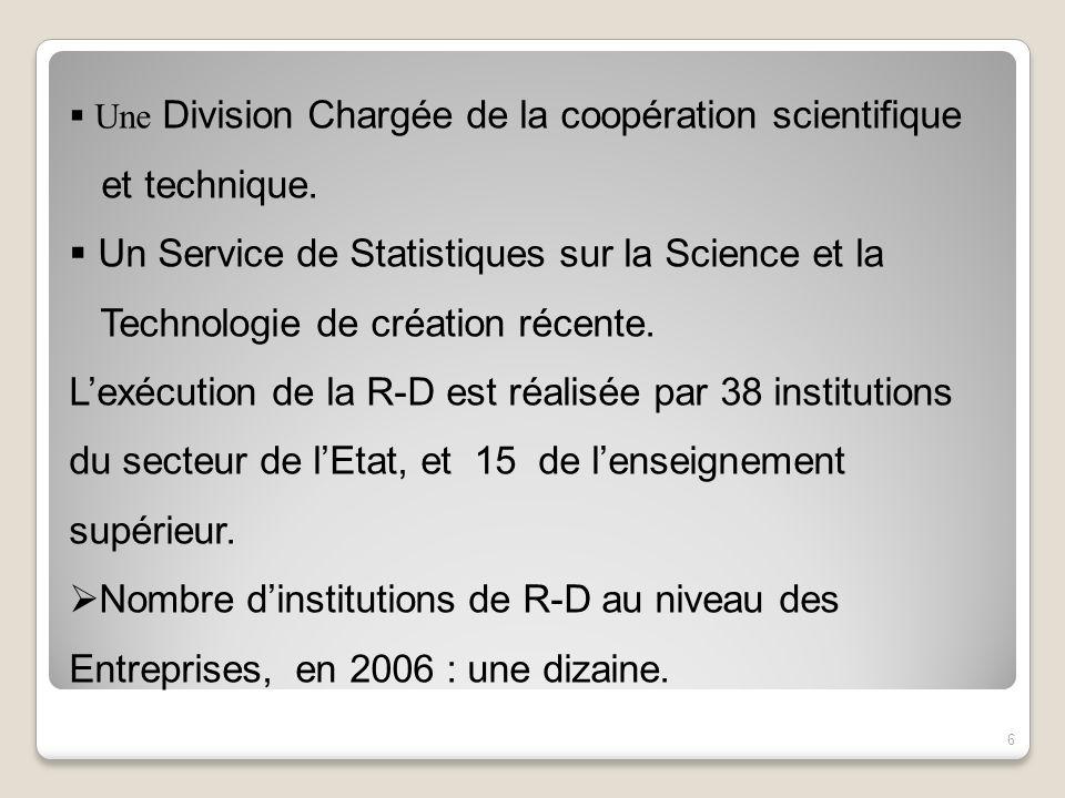 Une Division Chargée de la coopération scientifique et technique. Un Service de Statistiques sur la Science et la Technologie de création récente. Lex