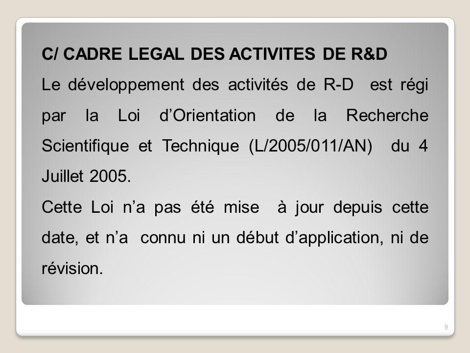 C/ CADRE LEGAL DES ACTIVITES DE R&D Le développement des activités de R-D est régi par la Loi dOrientation de la Recherche Scientifique et Technique (