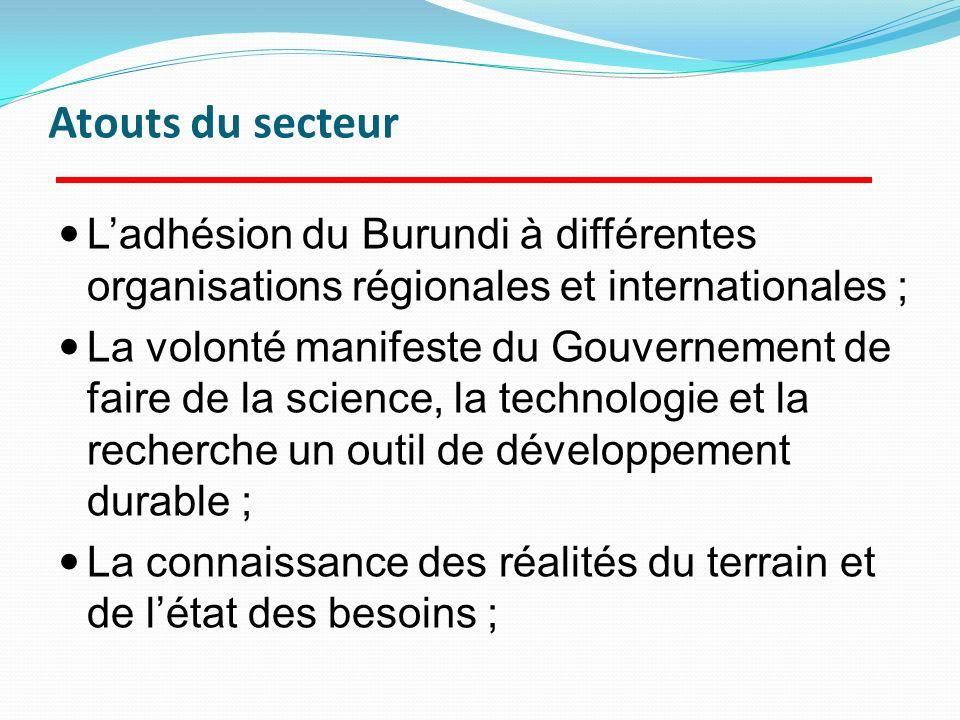 Ladhésion du Burundi à différentes organisations régionales et internationales ; La volonté manifeste du Gouvernement de faire de la science, la techn