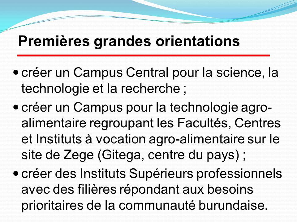 créer un Campus Central pour la science, la technologie et la recherche ; créer un Campus pour la technologie agro- alimentaire regroupant les Faculté