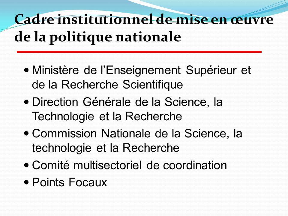 Ministère de lEnseignement Supérieur et de la Recherche Scientifique Direction Générale de la Science, la Technologie et la Recherche Commission Natio