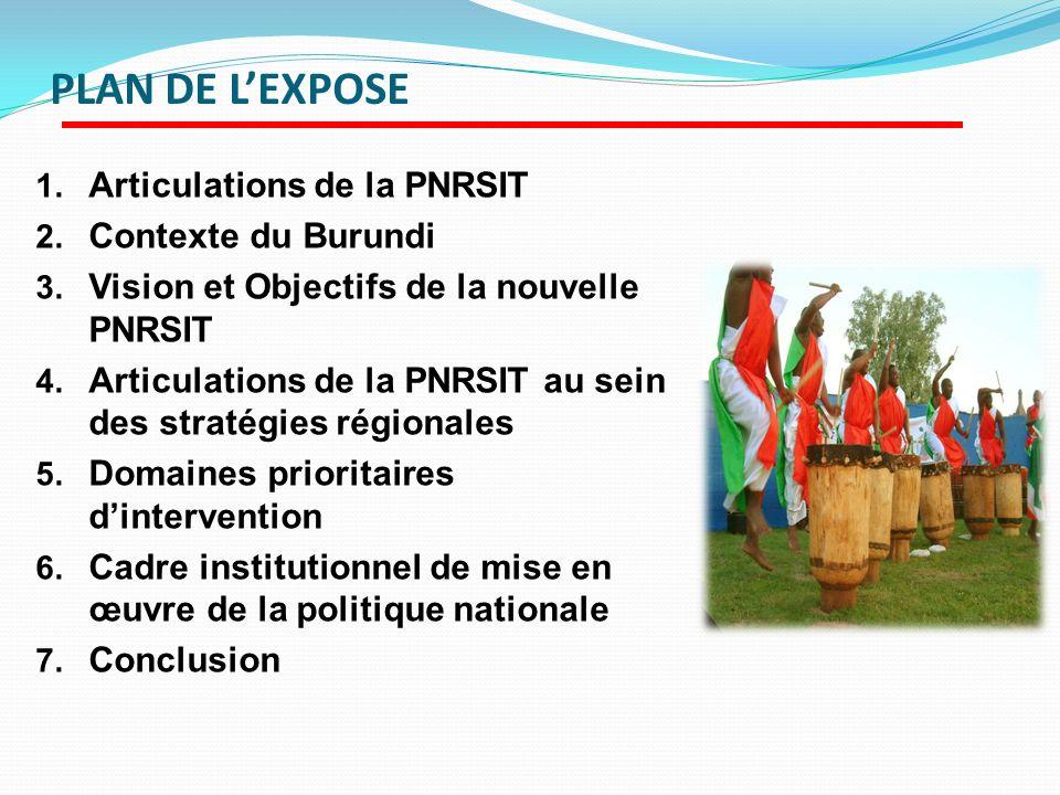 PLAN DE LEXPOSE 1. Articulations de la PNRSIT 2. Contexte du Burundi 3. Vision et Objectifs de la nouvelle PNRSIT 4. Articulations de la PNRSIT au sei
