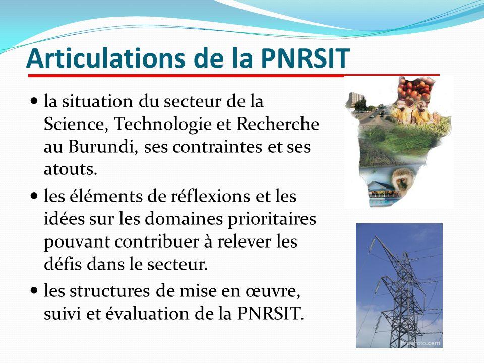 Articulations de la PNRSIT la situation du secteur de la Science, Technologie et Recherche au Burundi, ses contraintes et ses atouts. les éléments de