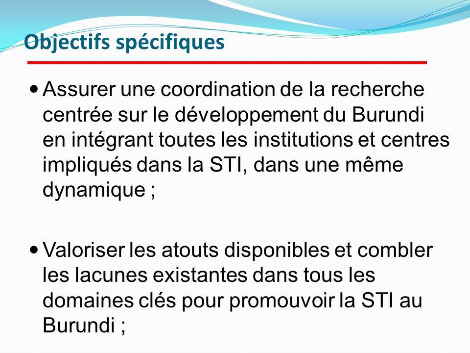 Objectifs spécifiques Assurer une coordination de la recherche centrée sur le développement du Burundi en intégrant toutes les institutions et centres