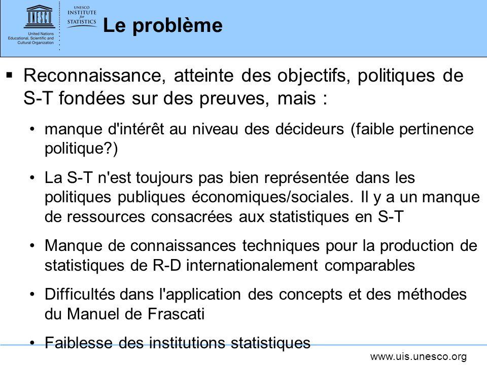 www.uis.unesco.org Procédure d enquête et estimation Recommandations: Une grande attention doit être accordée à la conception du questionnaire.