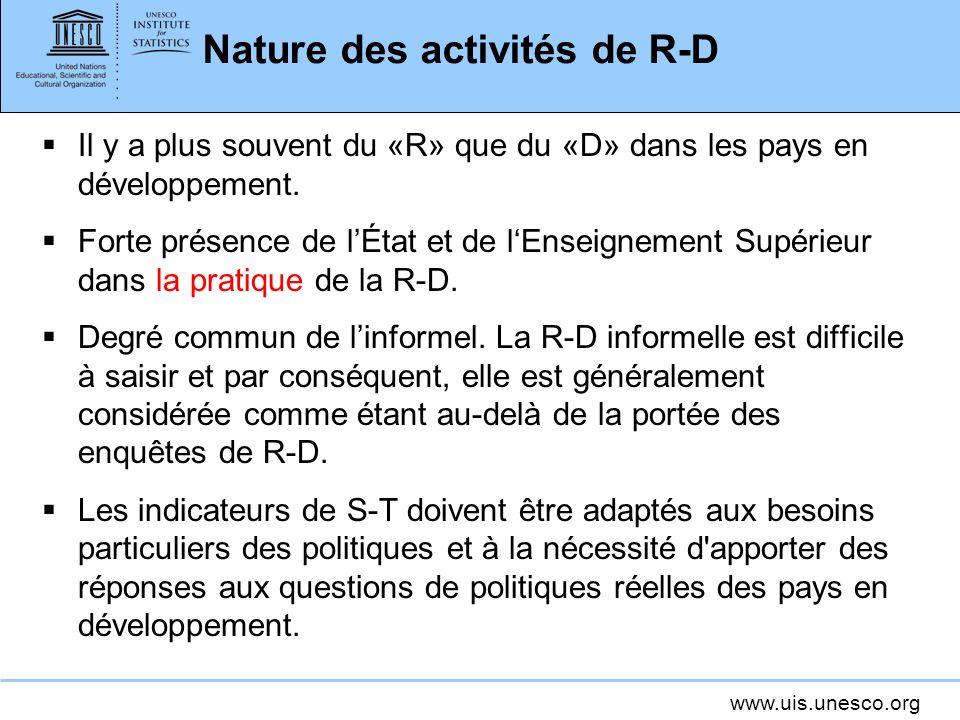 www.uis.unesco.org Hétérogénéité et concentration Les activités de R-D et leur cadre institutionnel présentent des caractéristiques distinctives les structures doivent être bien comprises.