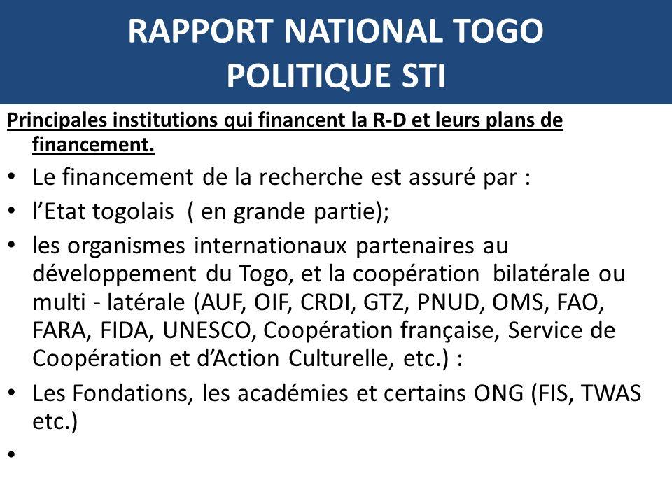 RAPPORT NATIONAL TOGO POLITIQUE STI Principales institutions qui financent la R-D et leurs plans de financement. Le financement de la recherche est as