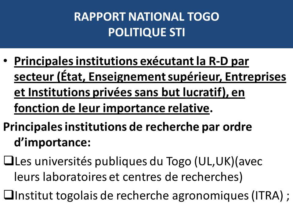 RAPPORT NATIONAL TOGO POLITIQUE STI Principales institutions exécutant la R-D par secteur (État, Enseignement supérieur, Entreprises et Institutions p