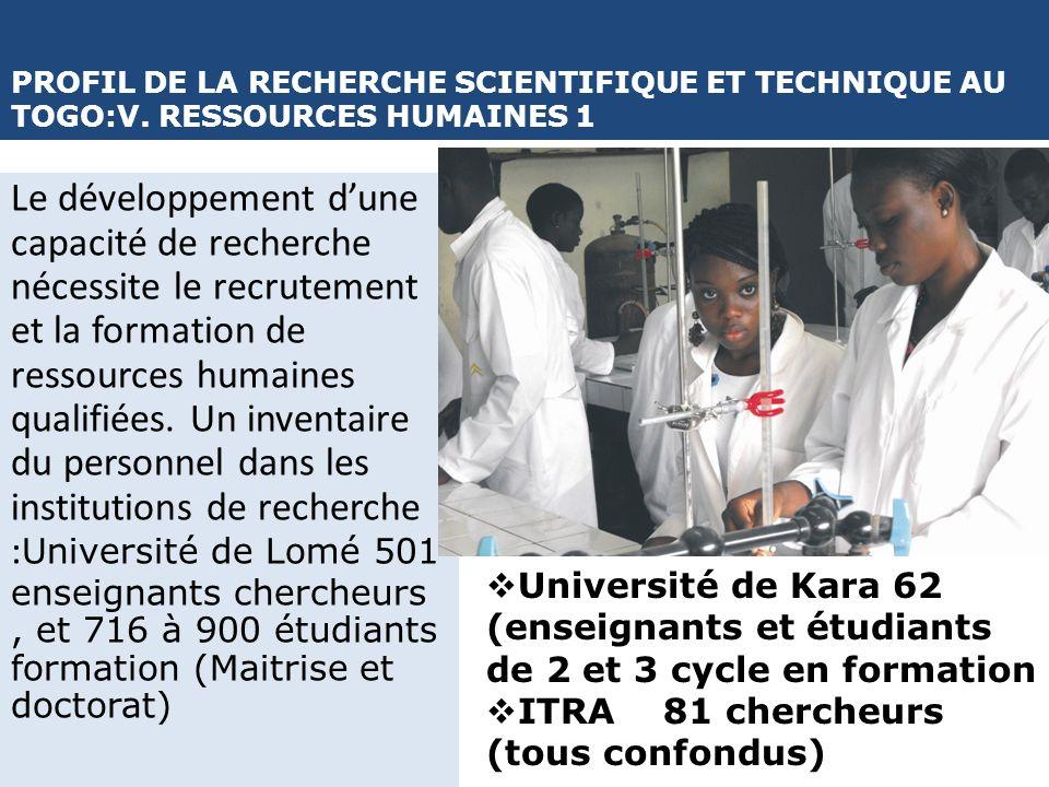 PROFIL DE LA RECHERCHE SCIENTIFIQUE ET TECHNIQUE AU TOGO:V. RESSOURCES HUMAINES 1 Le développement dune capacité de recherche nécessite le recrutement