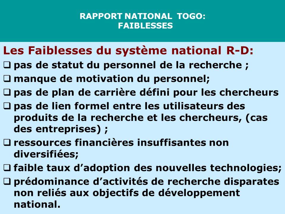 RAPPORT NATIONAL TOGO: FAIBLESSES Les Faiblesses du système national R-D: pas de statut du personnel de la recherche ; manque de motivation du personn