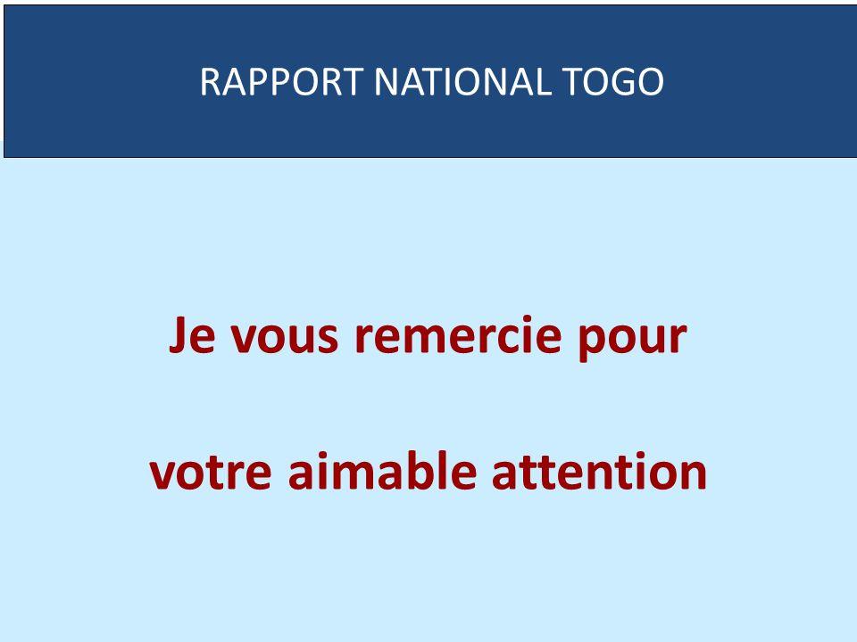 Je vous remercie pour votre aimable attention RAPPORT NATIONAL TOGO