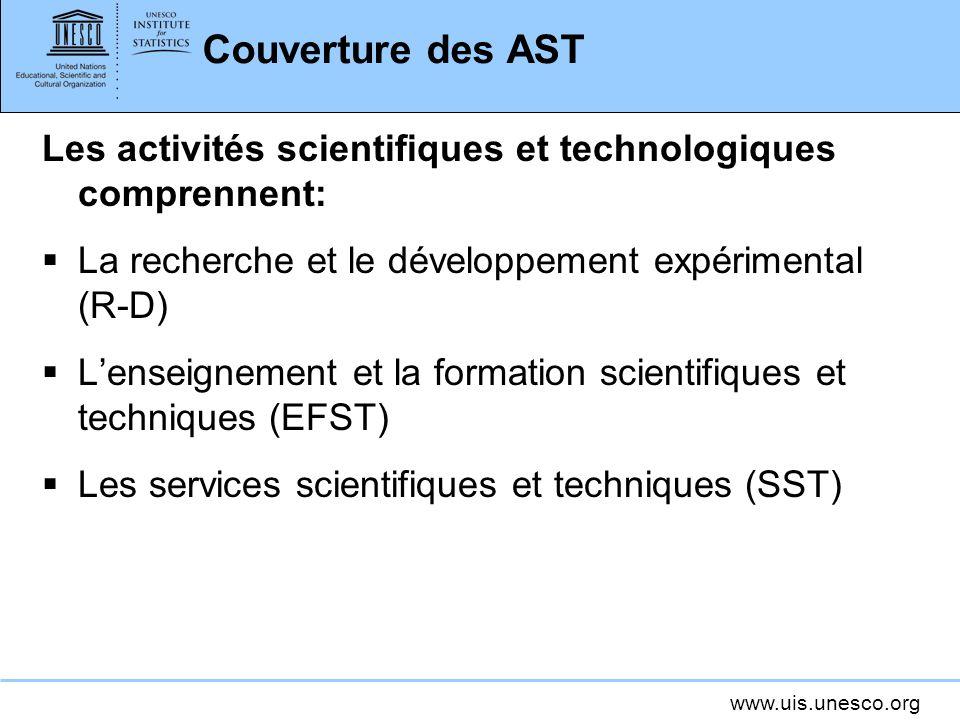 www.uis.unesco.org Couverture des AST Les activités scientifiques et technologiques comprennent: La recherche et le développement expérimental (R-D) L