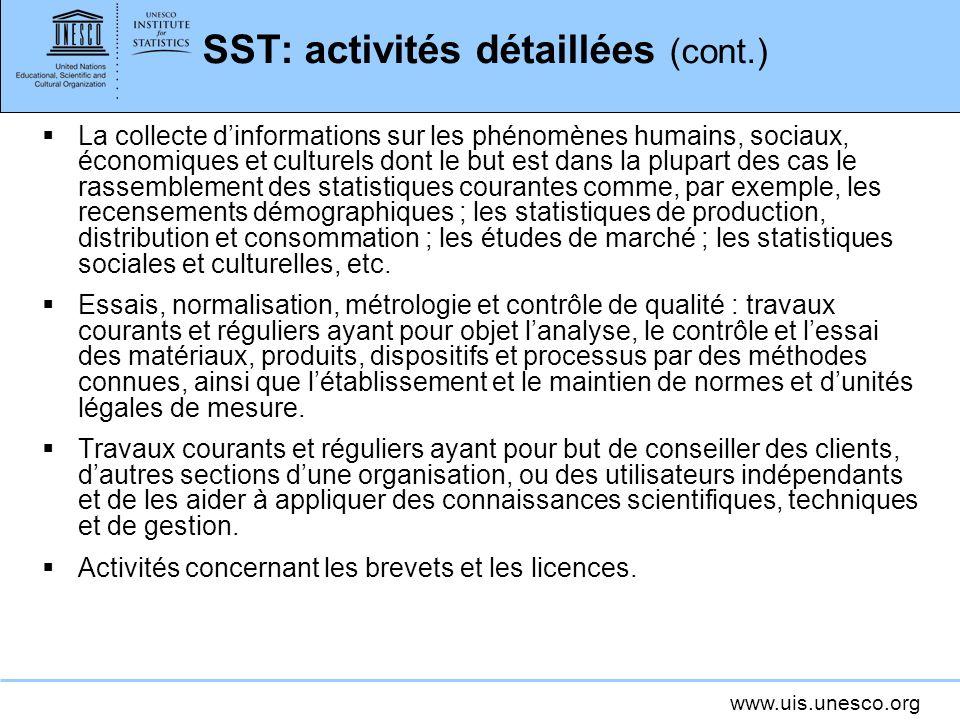 www.uis.unesco.org SST: activités détaillées (cont.) La collecte dinformations sur les phénomènes humains, sociaux, économiques et culturels dont le b