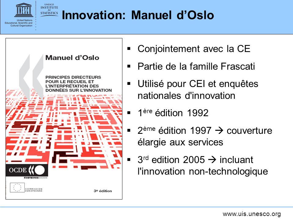 www.uis.unesco.org Innovation: Manuel dOslo Conjointement avec la CE Partie de la famille Frascati Utilisé pour CEI et enquêtes nationales d'innovatio