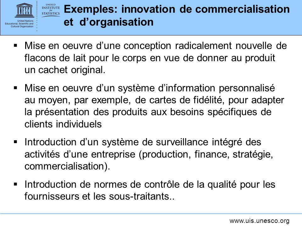 www.uis.unesco.org Exemples: innovation de commercialisation et dorganisation Mise en oeuvre dune conception radicalement nouvelle de flacons de lait