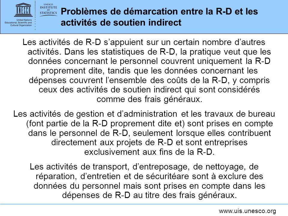 www.uis.unesco.org Problèmes de démarcation entre la R-D et les activités de soutien indirect Les activités de R-D sappuient sur un certain nombre dau