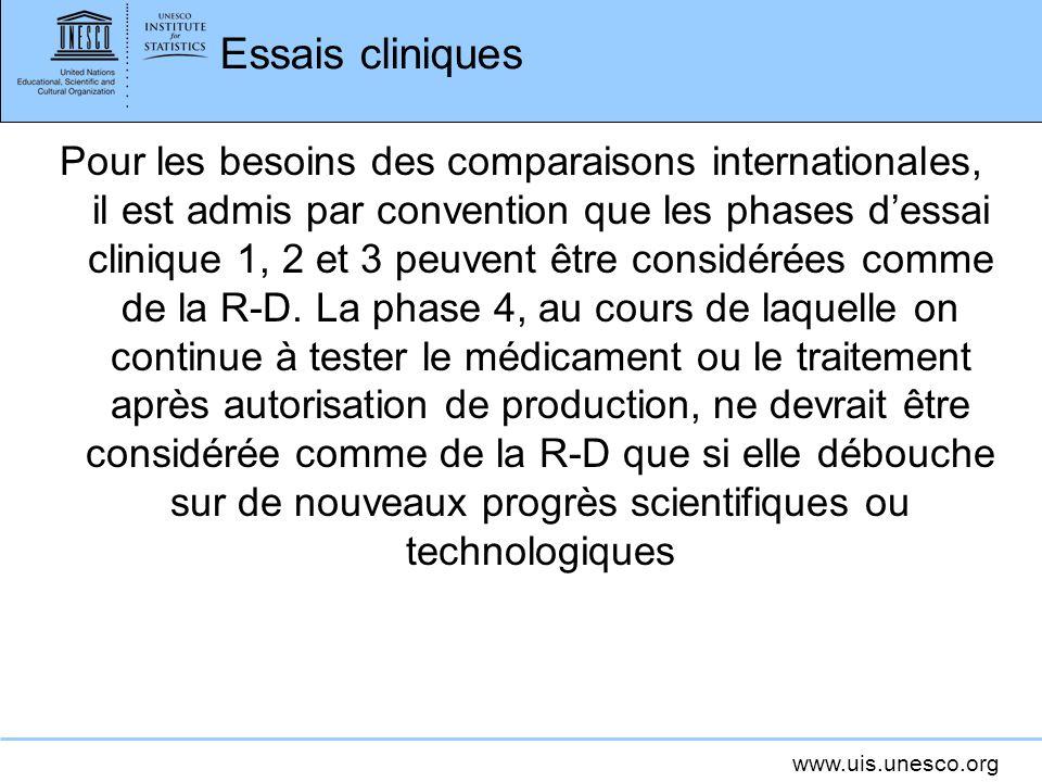 www.uis.unesco.org Essais cliniques Pour les besoins des comparaisons internationales, il est admis par convention que les phases dessai clinique 1, 2