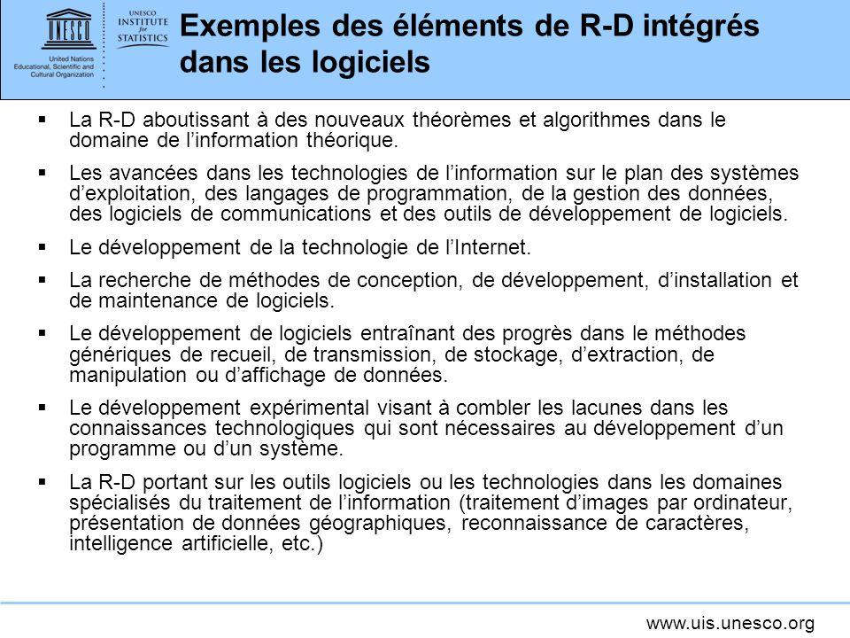 www.uis.unesco.org Exemples des éléments de R-D intégrés dans les logiciels La R-D aboutissant à des nouveaux théorèmes et algorithmes dans le domaine