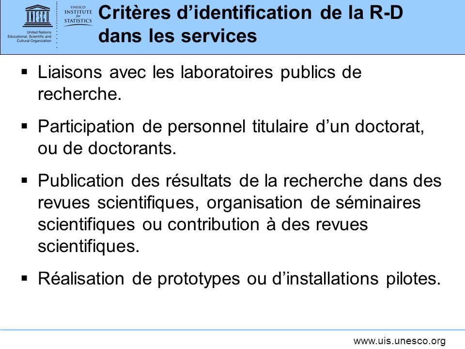 www.uis.unesco.org Critères didentification de la R-D dans les services Liaisons avec les laboratoires publics de recherche. Participation de personne