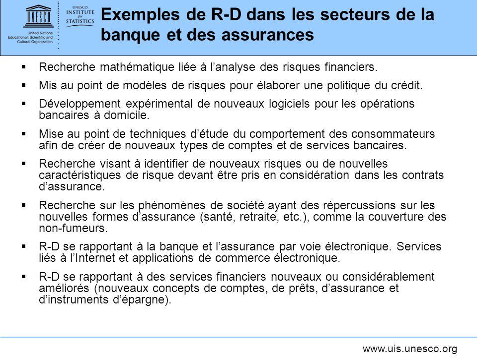 www.uis.unesco.org Exemples de R-D dans les secteurs de la banque et des assurances Recherche mathématique liée à lanalyse des risques financiers. Mis