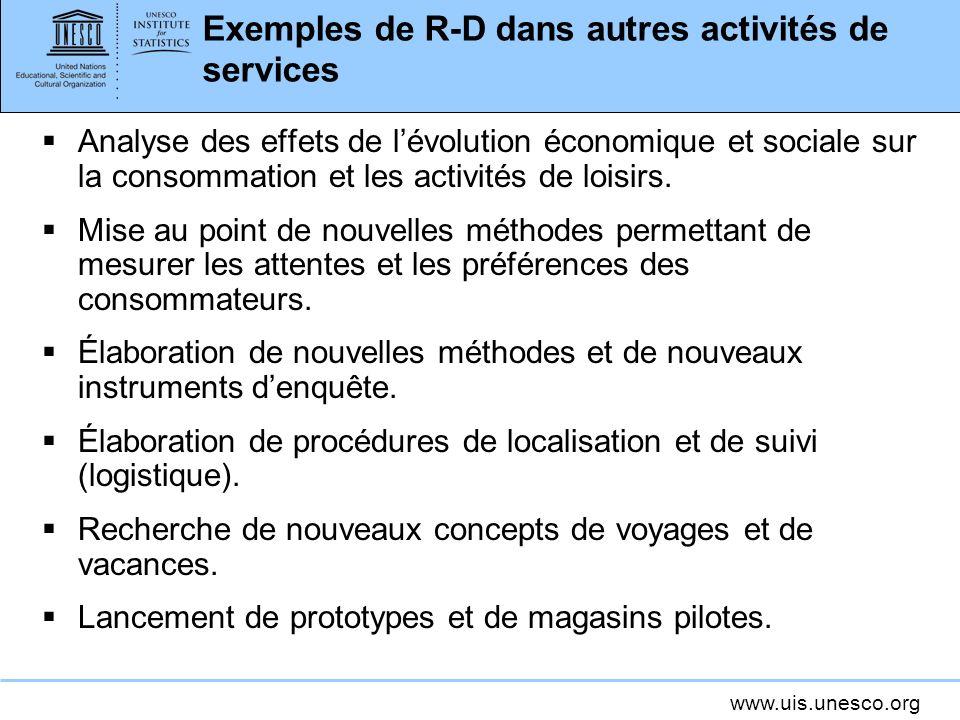 www.uis.unesco.org Exemples de R-D dans autres activités de services Analyse des effets de lévolution économique et sociale sur la consommation et les