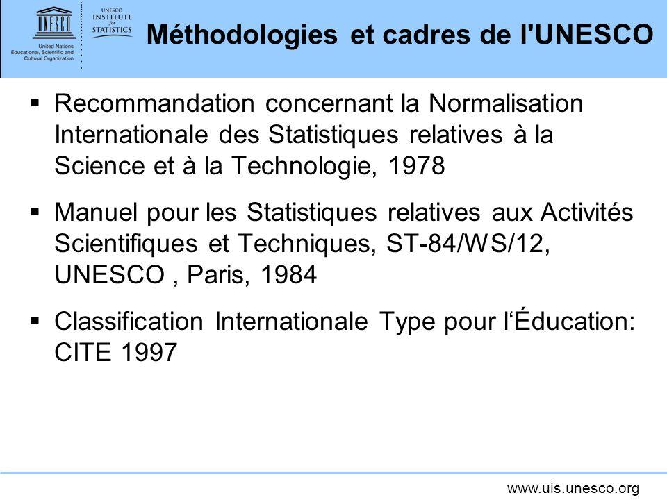 www.uis.unesco.org Méthodologies et cadres de l'UNESCO Recommandation concernant la Normalisation Internationale des Statistiques relatives à la Scien