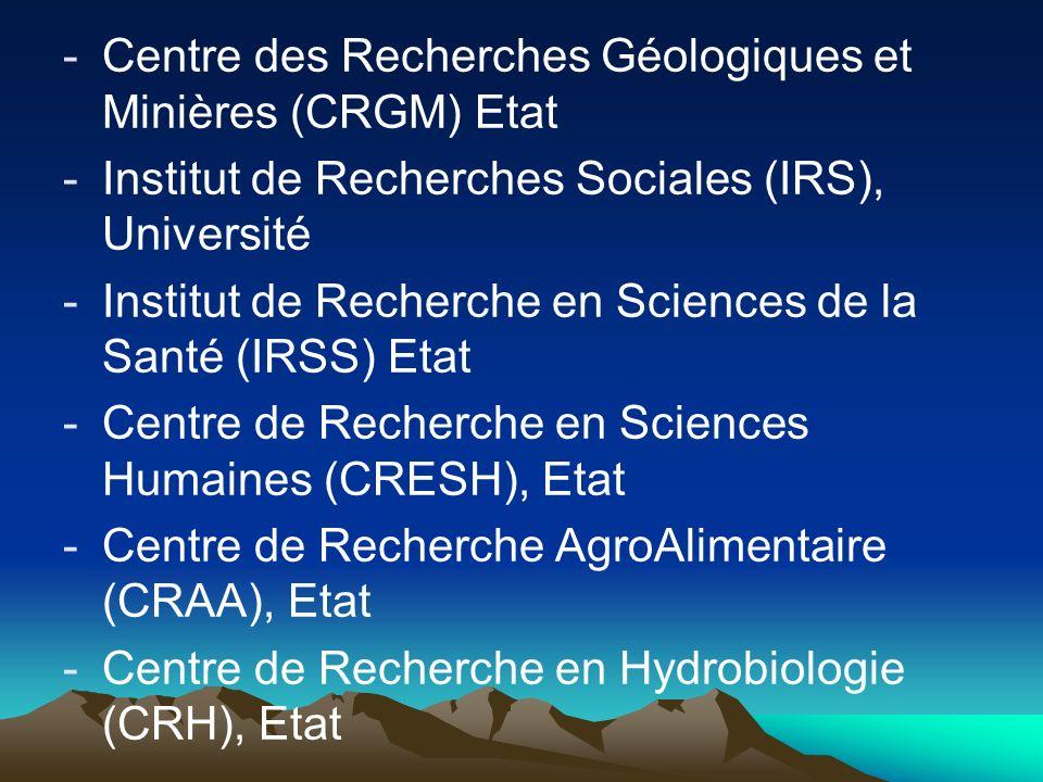 -Centre des Recherches Géologiques et Minières (CRGM) Etat -Institut de Recherches Sociales (IRS), Université -Institut de Recherche en Sciences de la