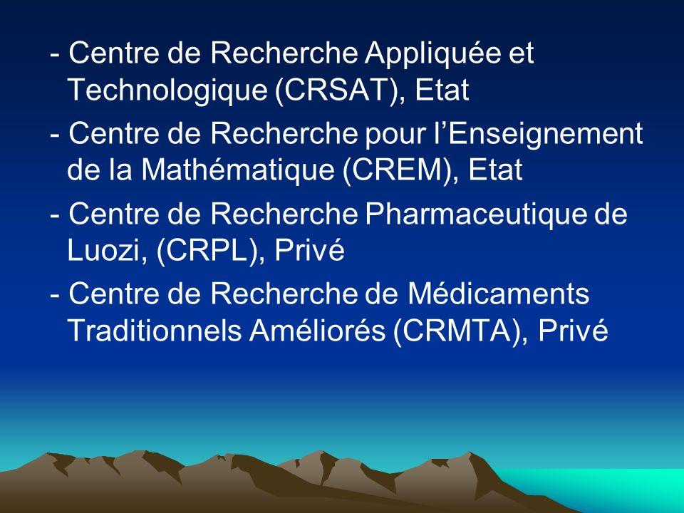 - Centre de Recherche Appliquée et Technologique (CRSAT), Etat - Centre de Recherche pour lEnseignement de la Mathématique (CREM), Etat - Centre de Re