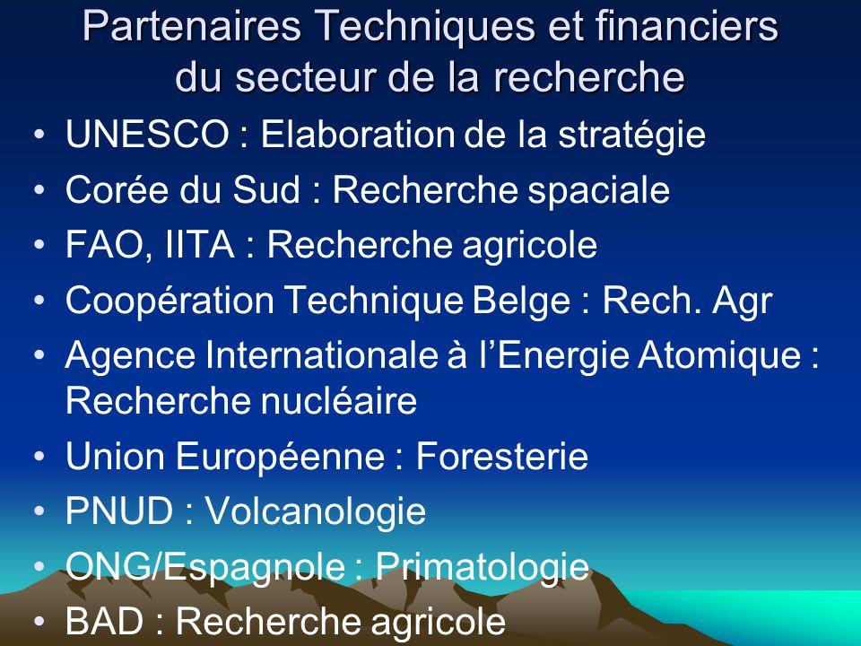 Partenaires Techniques et financiers du secteur de la recherche UNESCO : Elaboration de la stratégie Corée du Sud : Recherche spaciale FAO, IITA : Rec