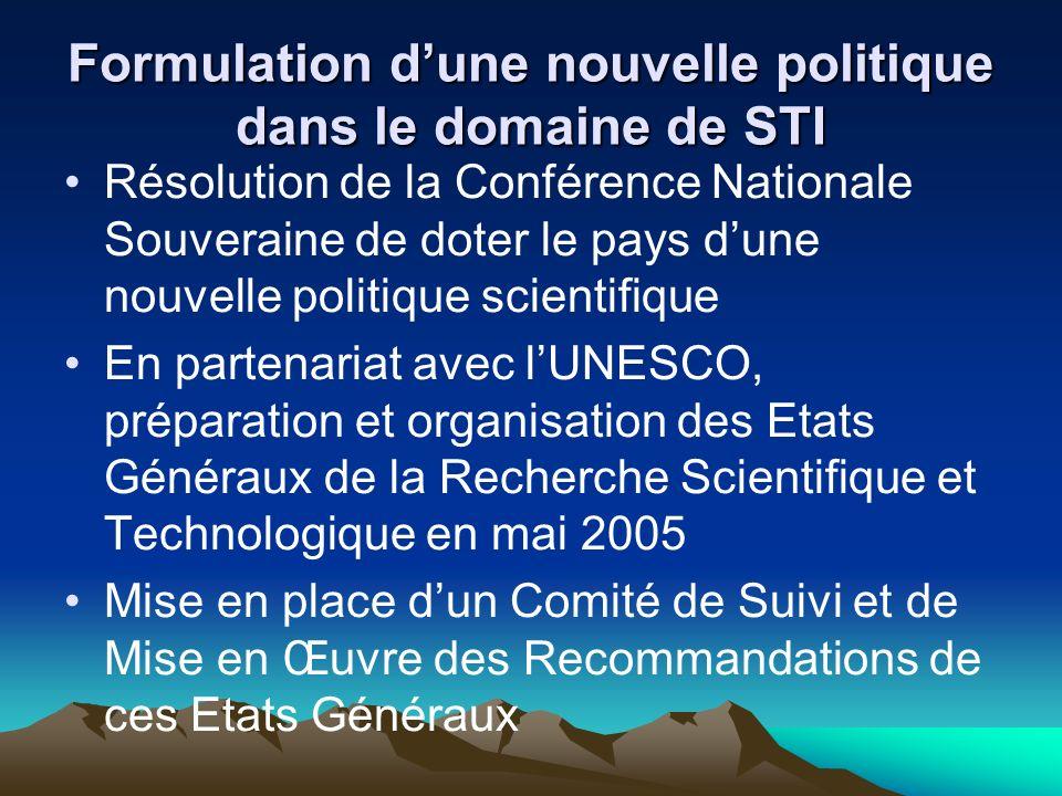 Formulation dune nouvelle politique dans le domaine de STI Résolution de la Conférence Nationale Souveraine de doter le pays dune nouvelle politique s