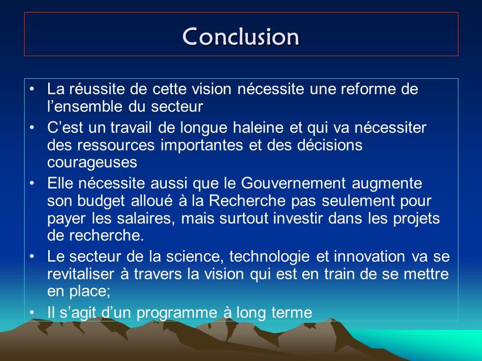 Conclusion La réussite de cette vision nécessite une reforme de lensemble du secteur Cest un travail de longue haleine et qui va nécessiter des ressou