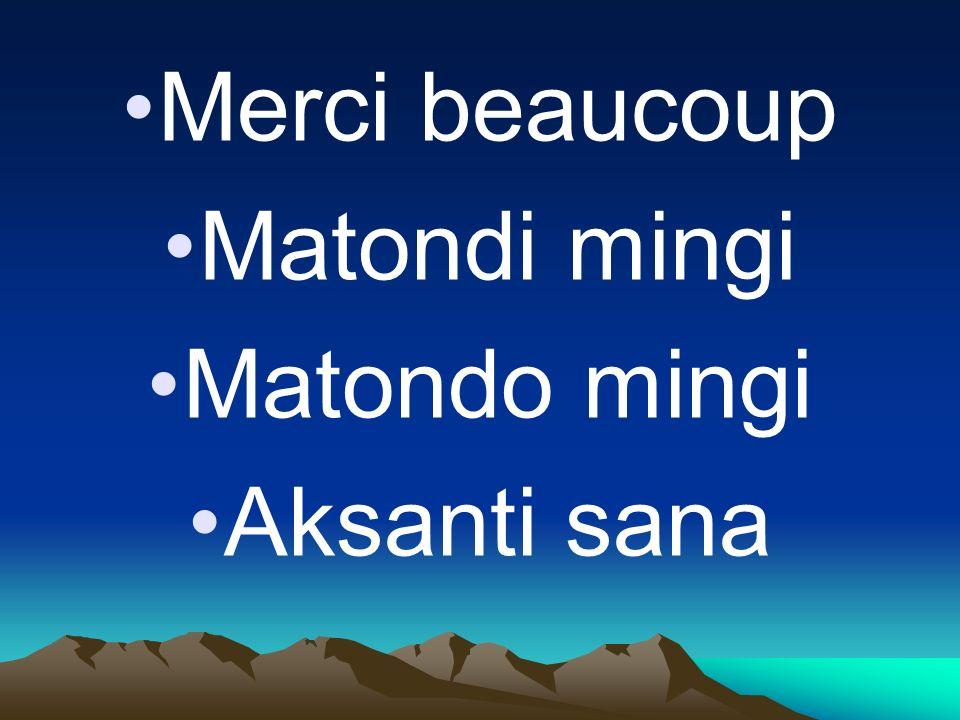 Merci beaucoup Matondi mingi Matondo mingi Aksanti sana