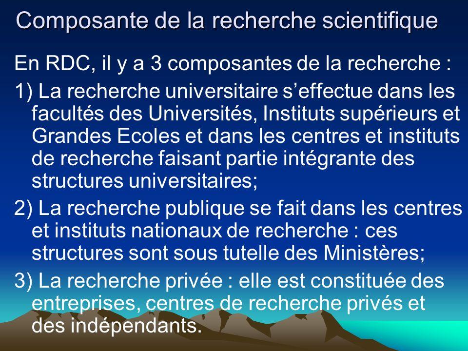 Composante de la recherche scientifique En RDC, il y a 3 composantes de la recherche : 1) La recherche universitaire seffectue dans les facultés des U