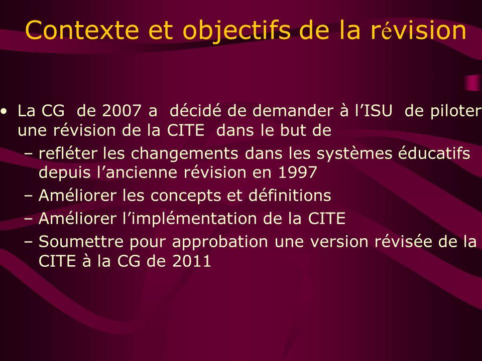 Contexte et objectifs de la r é vision La CG de 2007 a décidé de demander à lISU de piloter une révision de la CITE dans le but de –refléter les changements dans les systèmes éducatifs depuis lancienne révision en 1997 –Améliorer les concepts et définitions –Améliorer limplémentation de la CITE –Soumettre pour approbation une version révisée de la CITE à la CG de 2011