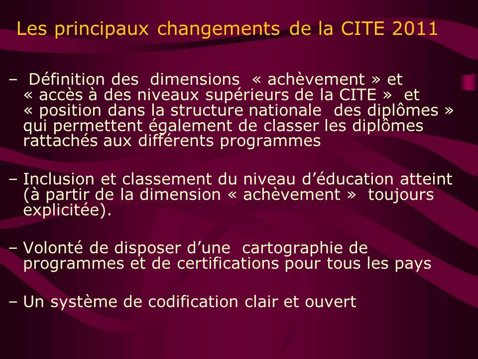 Les principaux changements de la CITE 2011 – Définition des dimensions « achèvement » et « accès à des niveaux supérieurs de la CITE » et « position dans la structure nationale des diplômes » qui permettent également de classer les diplômes rattachés aux différents programmes –Inclusion et classement du niveau déducation atteint (à partir de la dimension « achèvement » toujours explicitée).