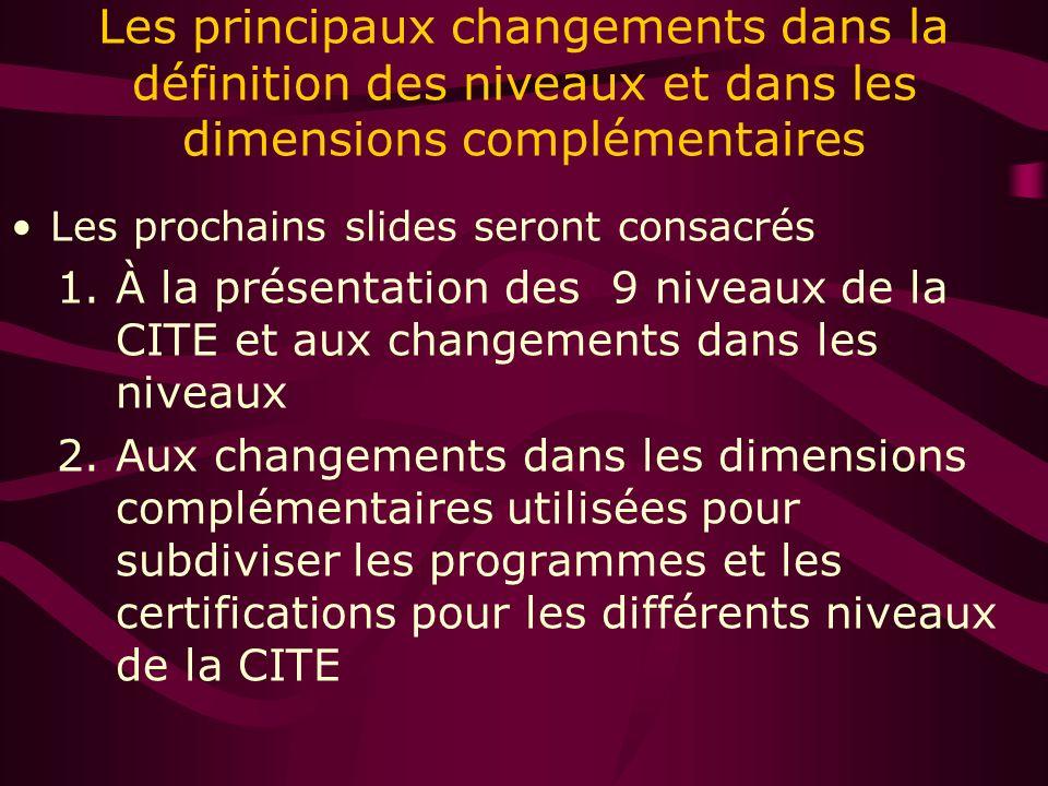 Les principaux changements dans la définition des niveaux et dans les dimensions complémentaires Les prochains slides seront consacrés 1.À la présentation des 9 niveaux de la CITE et aux changements dans les niveaux 2.Aux changements dans les dimensions complémentaires utilisées pour subdiviser les programmes et les certifications pour les différents niveaux de la CITE