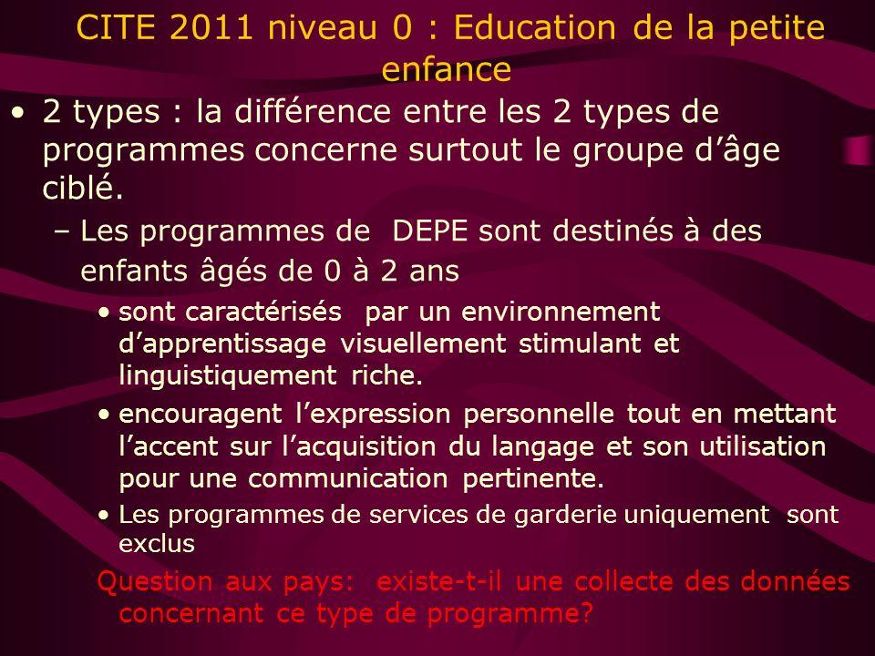 CITE 2011 niveau 0 : Education de la petite enfance 2 types : la différence entre les 2 types de programmes concerne surtout le groupe dâge ciblé.