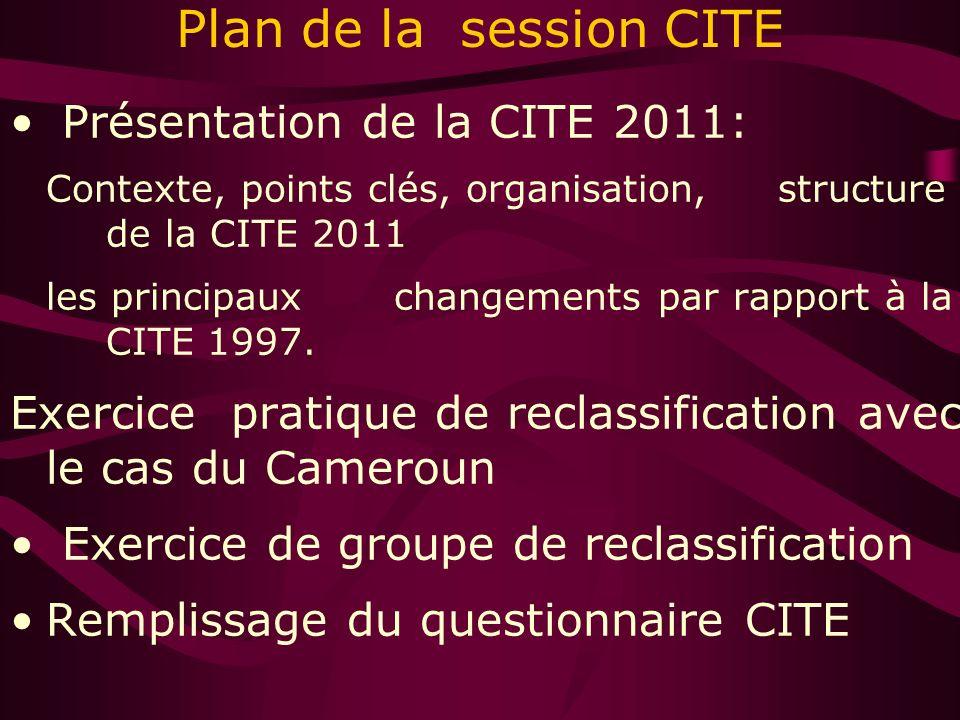 Plan de la session CITE Présentation de la CITE 2011: Contexte, points clés, organisation, structure de la CITE 2011 les principaux changements par rapport à la CITE 1997.