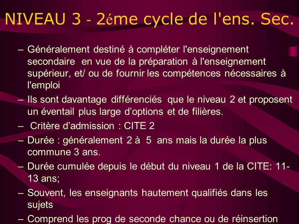 NIVEAU 3 - 2 é me cycle de l ens. Sec.