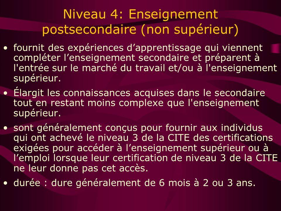 Niveau 4: Enseignement postsecondaire (non supérieur) fournit des expériences dapprentissage qui viennent compléter lenseignement secondaire et préparent à l entrée sur le marché du travail et/ou à l enseignement supérieur.