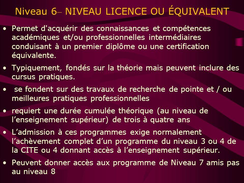 Niveau 6 – NIVEAU LICENCE OU ÉQUIVALENT Permet d acquérir des connaissances et compétences académiques et/ou professionnelles intermédiaires conduisant à un premier diplôme ou une certification équivalente.