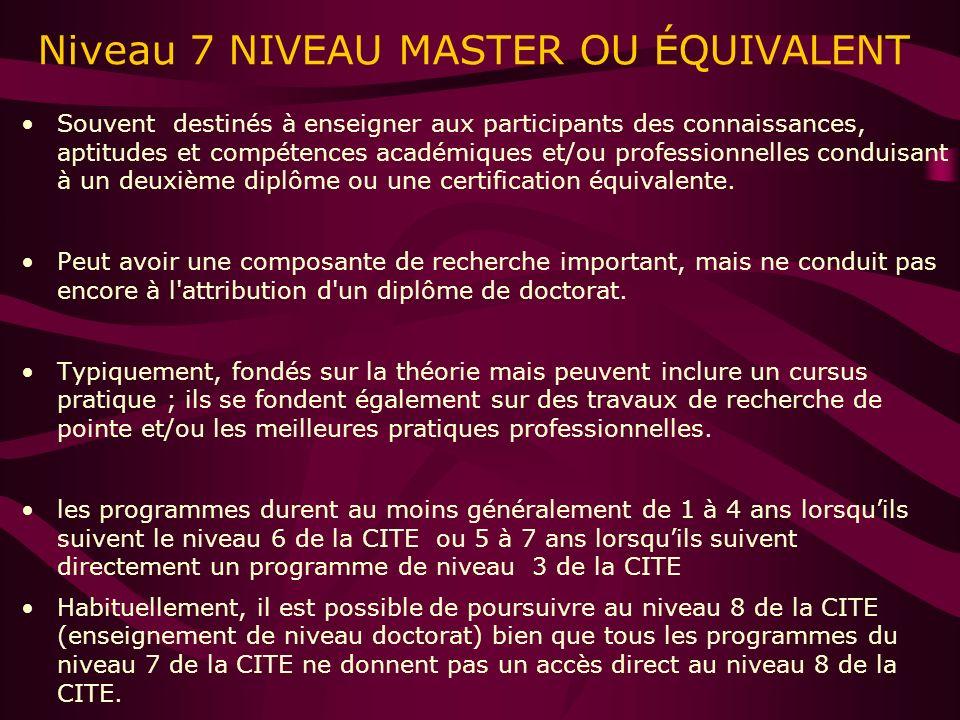 Niveau 7 NIVEAU MASTER OU ÉQUIVALENT Souvent destinés à enseigner aux participants des connaissances, aptitudes et compétences académiques et/ou professionnelles conduisant à un deuxième diplôme ou une certification équivalente.