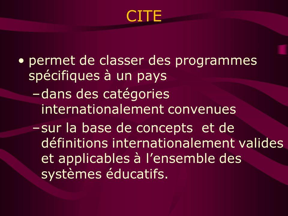 CITE permet de classer des programmes spécifiques à un pays –dans des catégories internationalement convenues –sur la base de concepts et de définitions internationalement valides et applicables à lensemble des systèmes éducatifs.