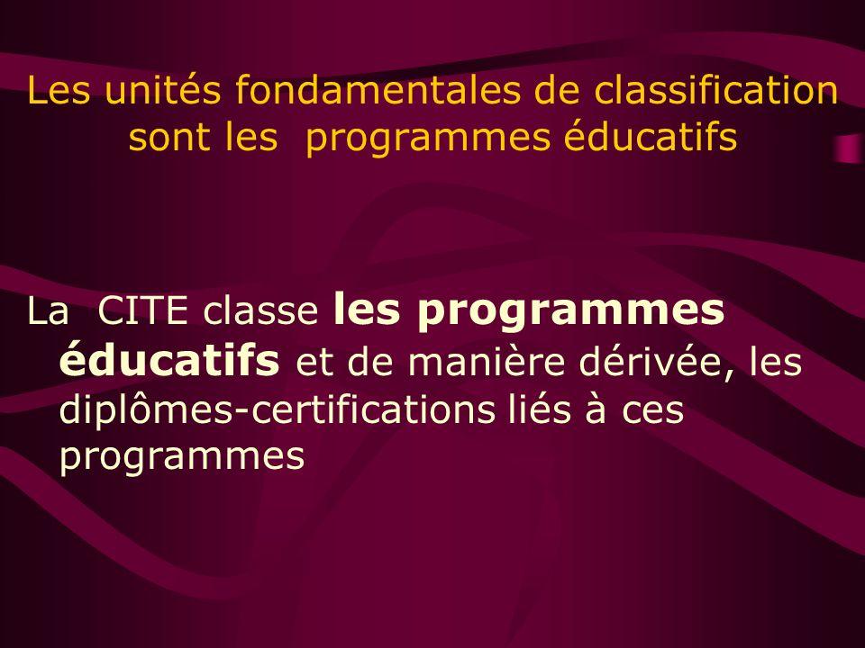 Les unités fondamentales de classification sont les programmes éducatifs La CITE classe les programmes éducatifs et de manière dérivée, les diplômes-certifications liés à ces programmes