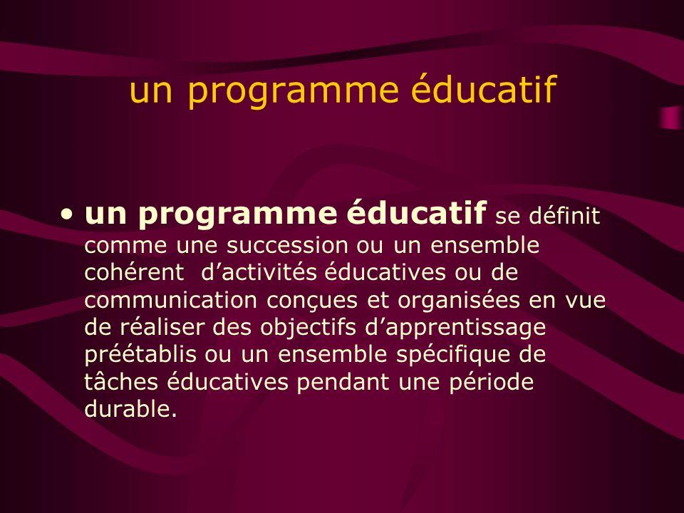 un programme éducatif un programme éducatif se définit comme une succession ou un ensemble cohérent dactivités éducatives ou de communication conçues et organisées en vue de réaliser des objectifs dapprentissage préétablis ou un ensemble spécifique de tâches éducatives pendant une période durable.