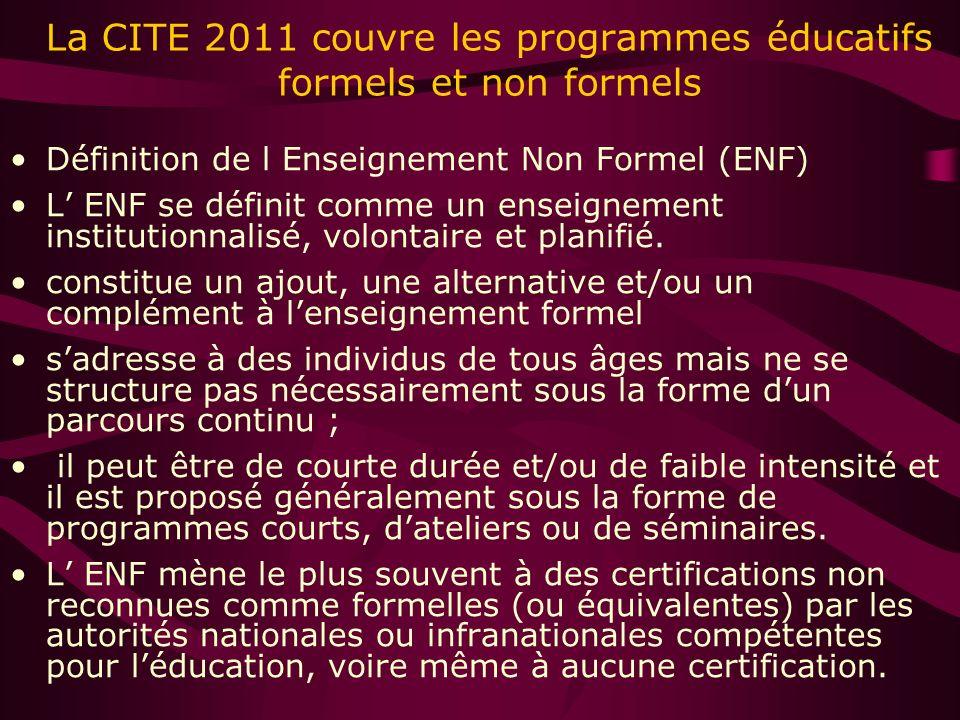 La CITE 2011 couvre les programmes éducatifs formels et non formels Définition de l Enseignement Non Formel (ENF) L ENF se définit comme un enseignement institutionnalisé, volontaire et planifié.