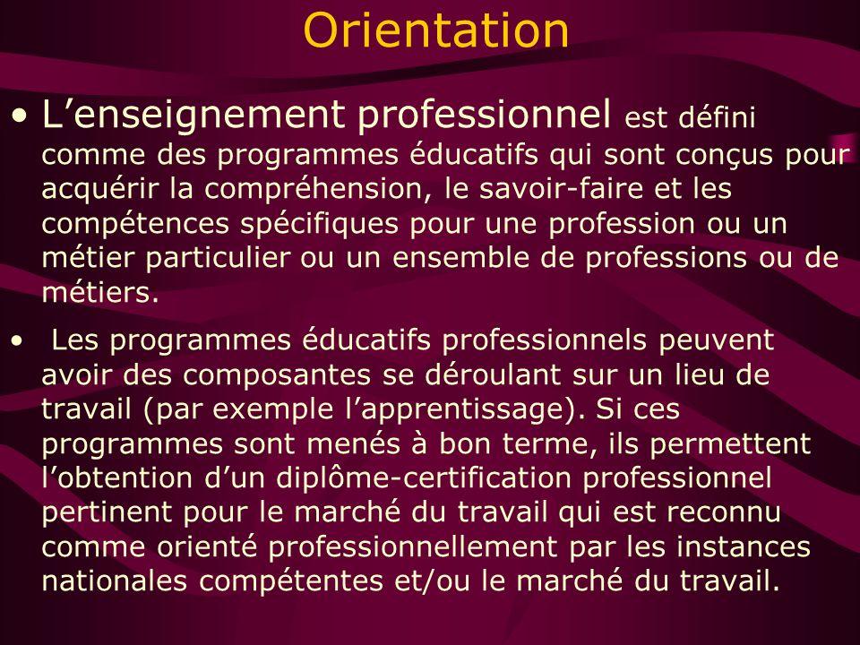 Orientation Lenseignement professionnel est défini comme des programmes éducatifs qui sont conçus pour acquérir la compréhension, le savoir-faire et les compétences spécifiques pour une profession ou un métier particulier ou un ensemble de professions ou de métiers.